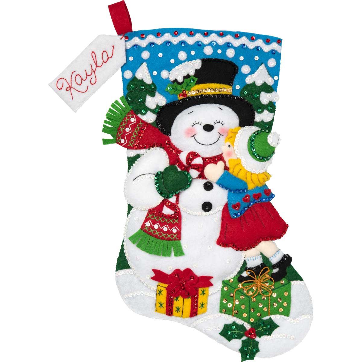 Bucilla ® Seasonal - Felt - Stocking Kits - Snowman Kisses