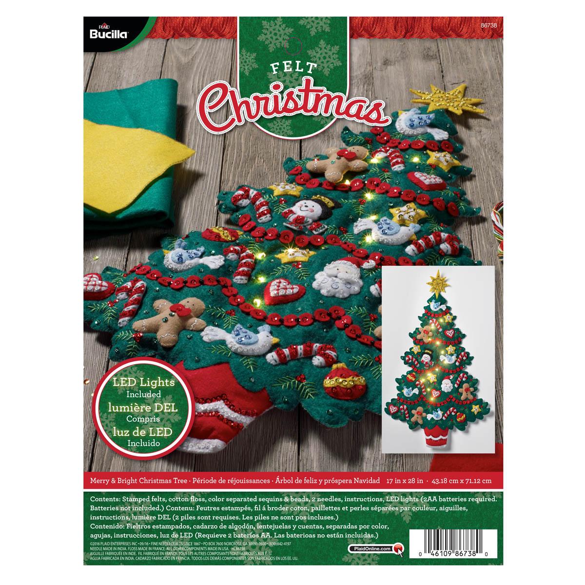 Bucilla ® Seasonal - Felt - Home Decor - Merry and Bright Christmas Tree Wall Hanging with Lights -