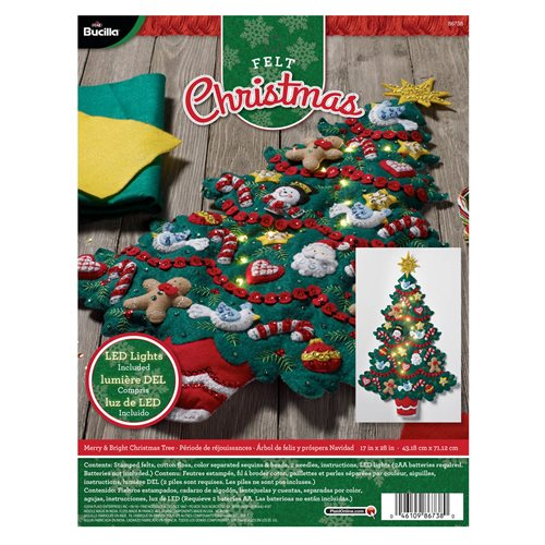 bucilla seasonal felt home decor doorwall hanging kits merry - Christmas Tree Decorating Ensemble Kits