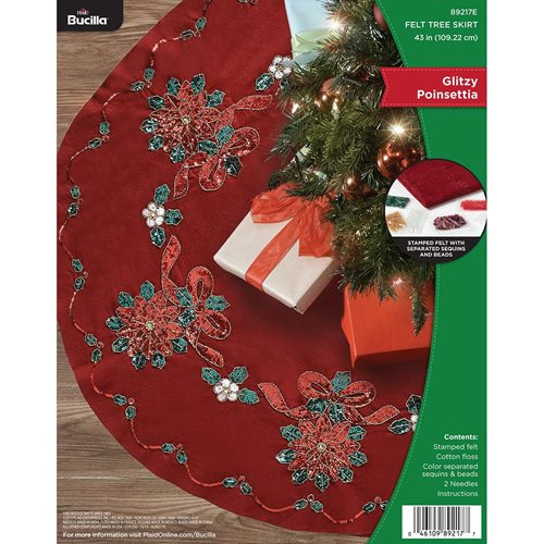 Bucilla ® Seasonal - Felt - Tree Skirt Kits - Glitzy Poinsettia - 89217E