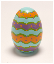Dots and Stripes Wood Egg