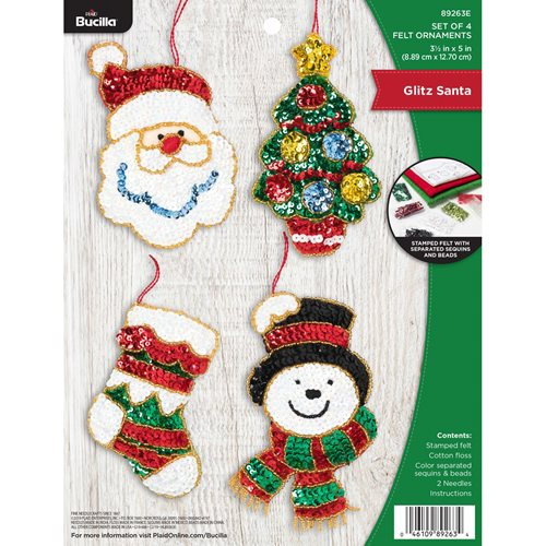 Bucilla ® Seasonal - Felt - Ornament Kits - Glitz Santa - 89263E