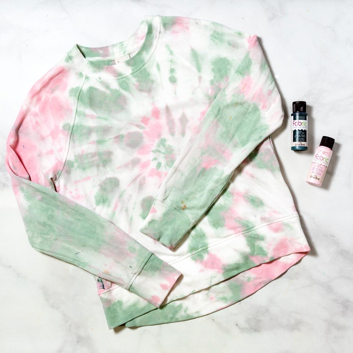 DIY Tie-Dye Pink and Blue Sweatshirt