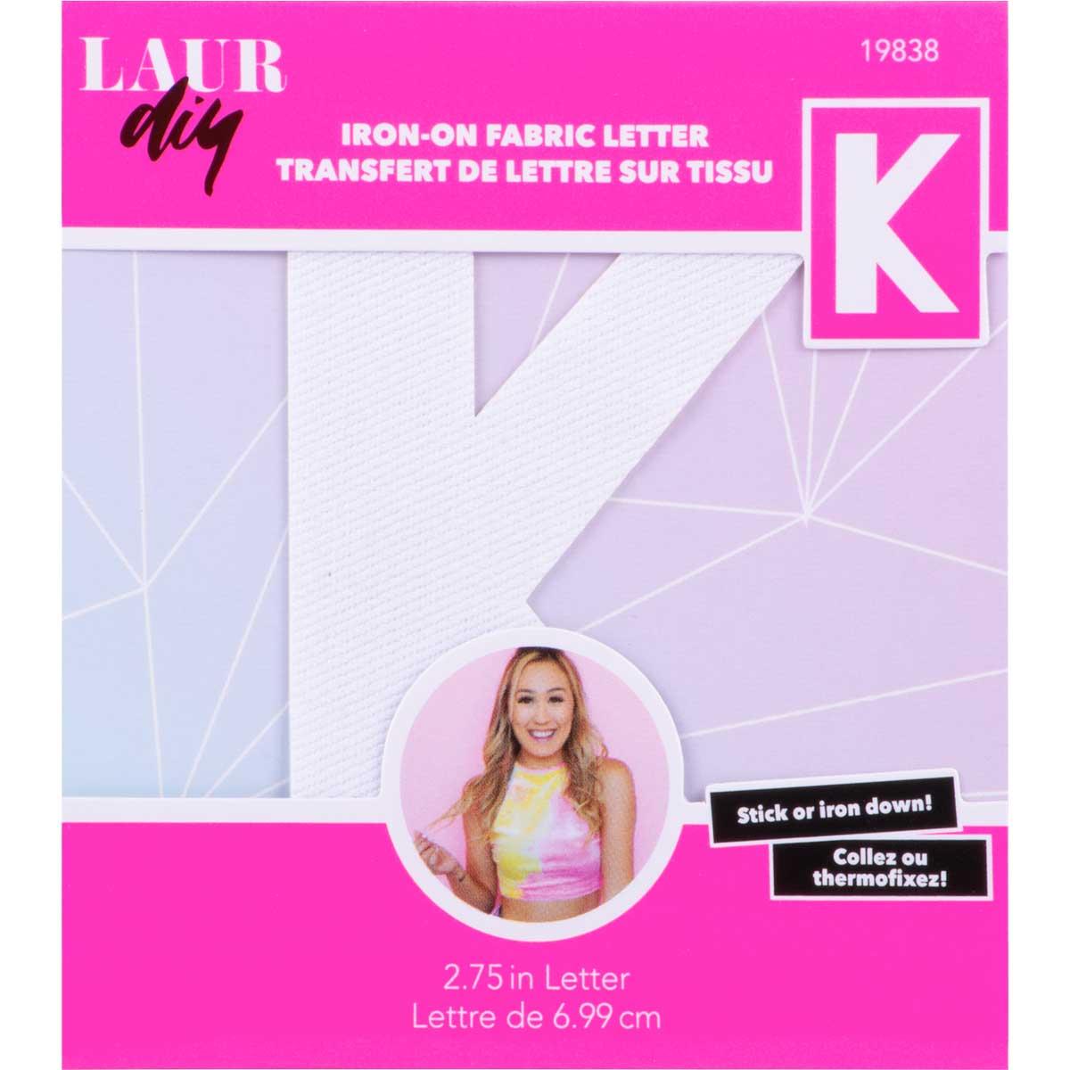 LaurDIY ® Iron-on Fabric Letters - K - 19838