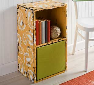 Wooden Distressed Two Shelf Cubby