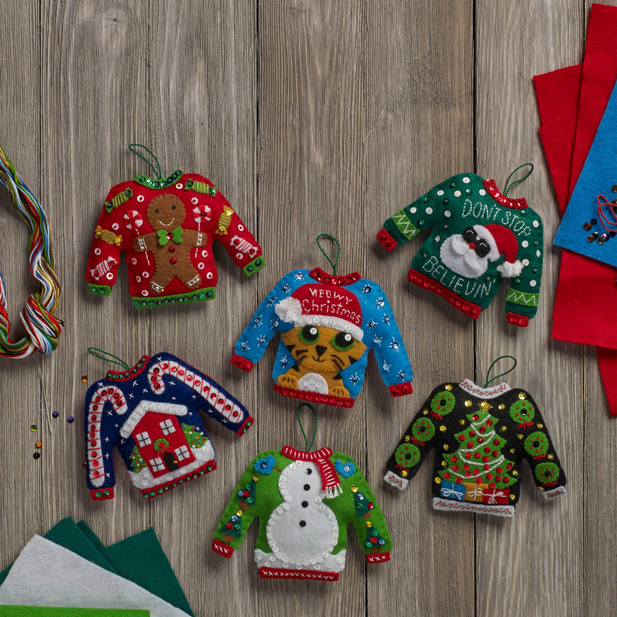 Bucilla ® Seasonal - Felt - Ornament Kits - Ugly Sweaters