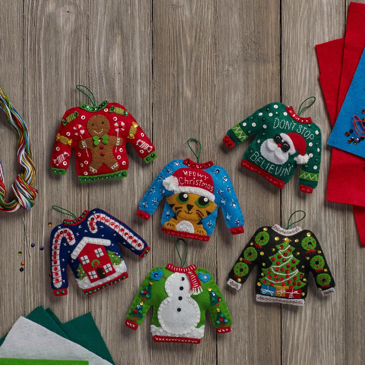 Bucilla ® Seasonal - Felt - Ornament Kits - Ugly Sweaters