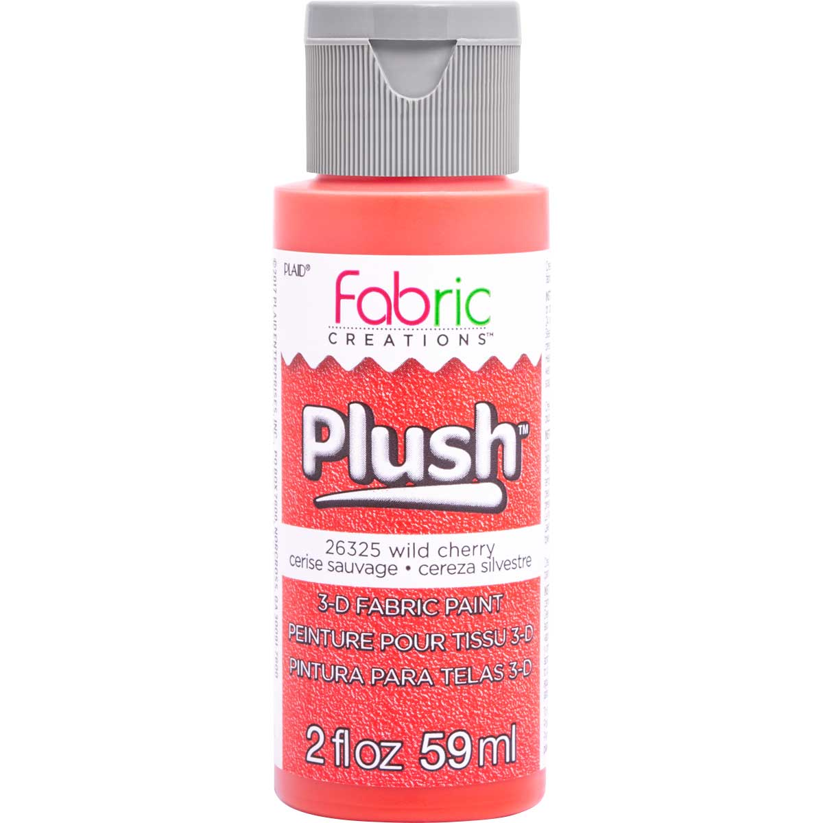 Fabric Creations™ Plush™ 3-D Fabric Paints - Wild Cherry, 2 oz. - 26325