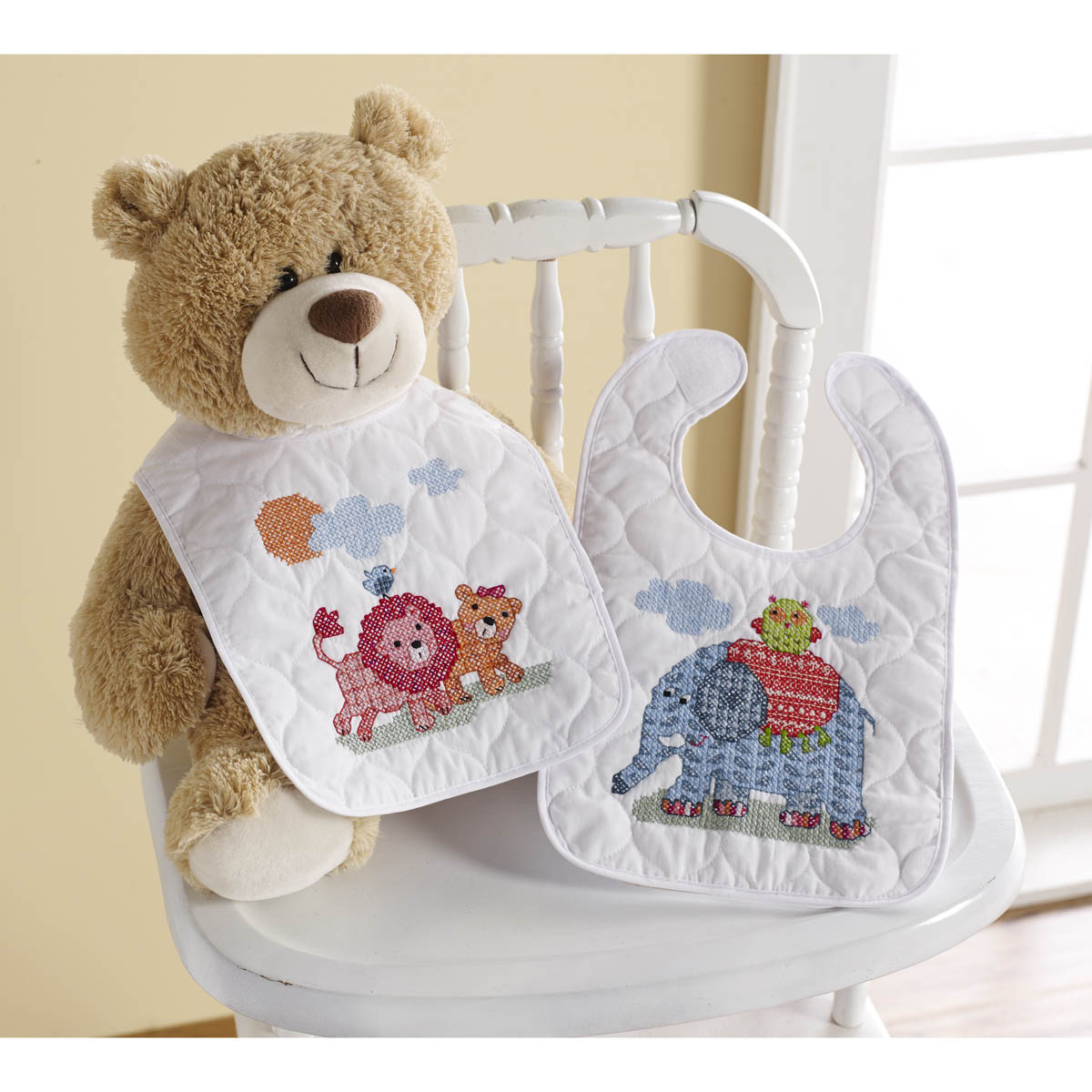 Bucilla ® Baby - Stamped Cross Stitch - Crib Ensembles - Two By Two - Bib Pair Kit