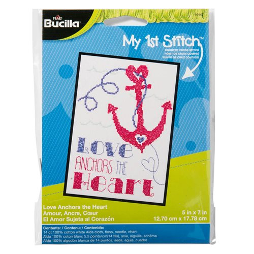Bucilla ® My 1st Stitch™ - Counted Cross Stitch Kits - Love Anchors the Heart