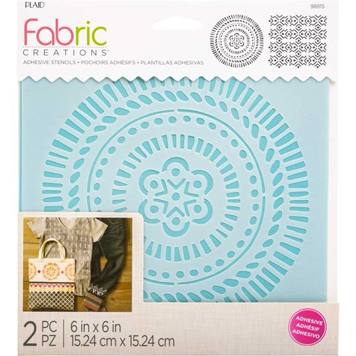 "Fabric Creations™ Adhesive Stencils - Tribal, 6"" x 6"""