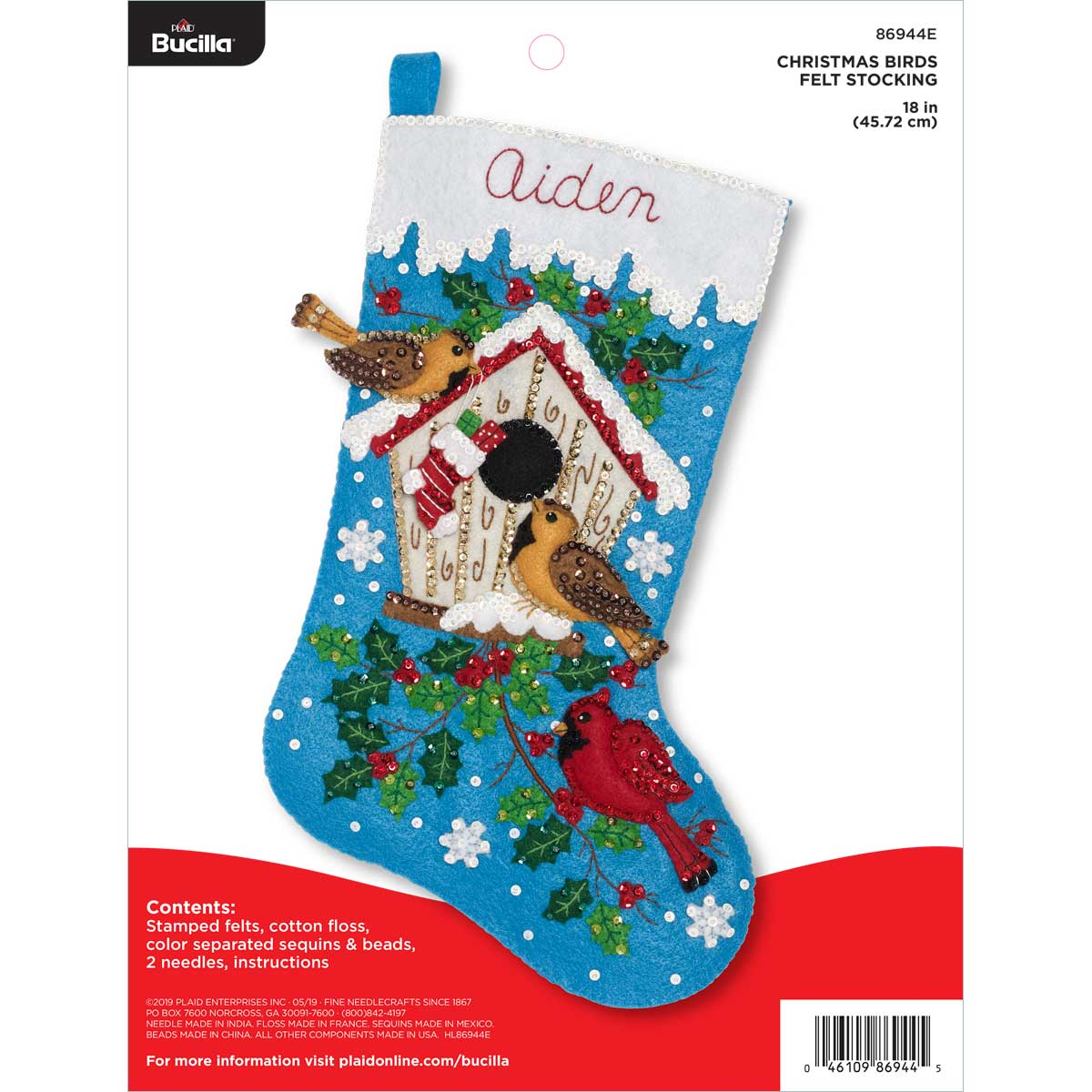 Bucilla ® Seasonal - Felt - Stocking Kits - Christmas Birds