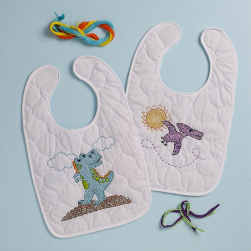 Bucilla ® Baby - Stamped Cross Stitch - Crib Ensembles - Dino Baby - Bib Pair Kit