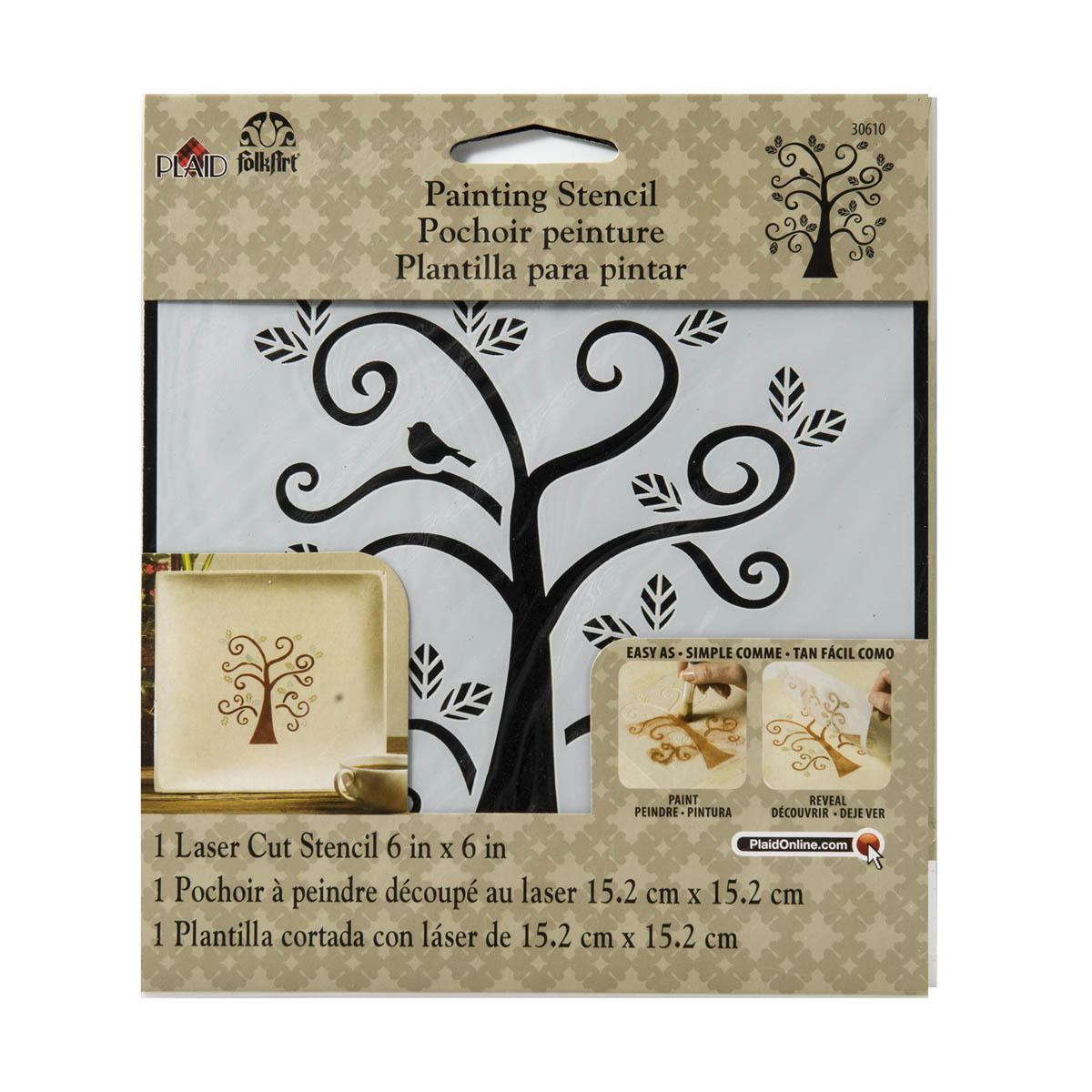 FolkArt ® Painting Stencils - Small - Curly Tree