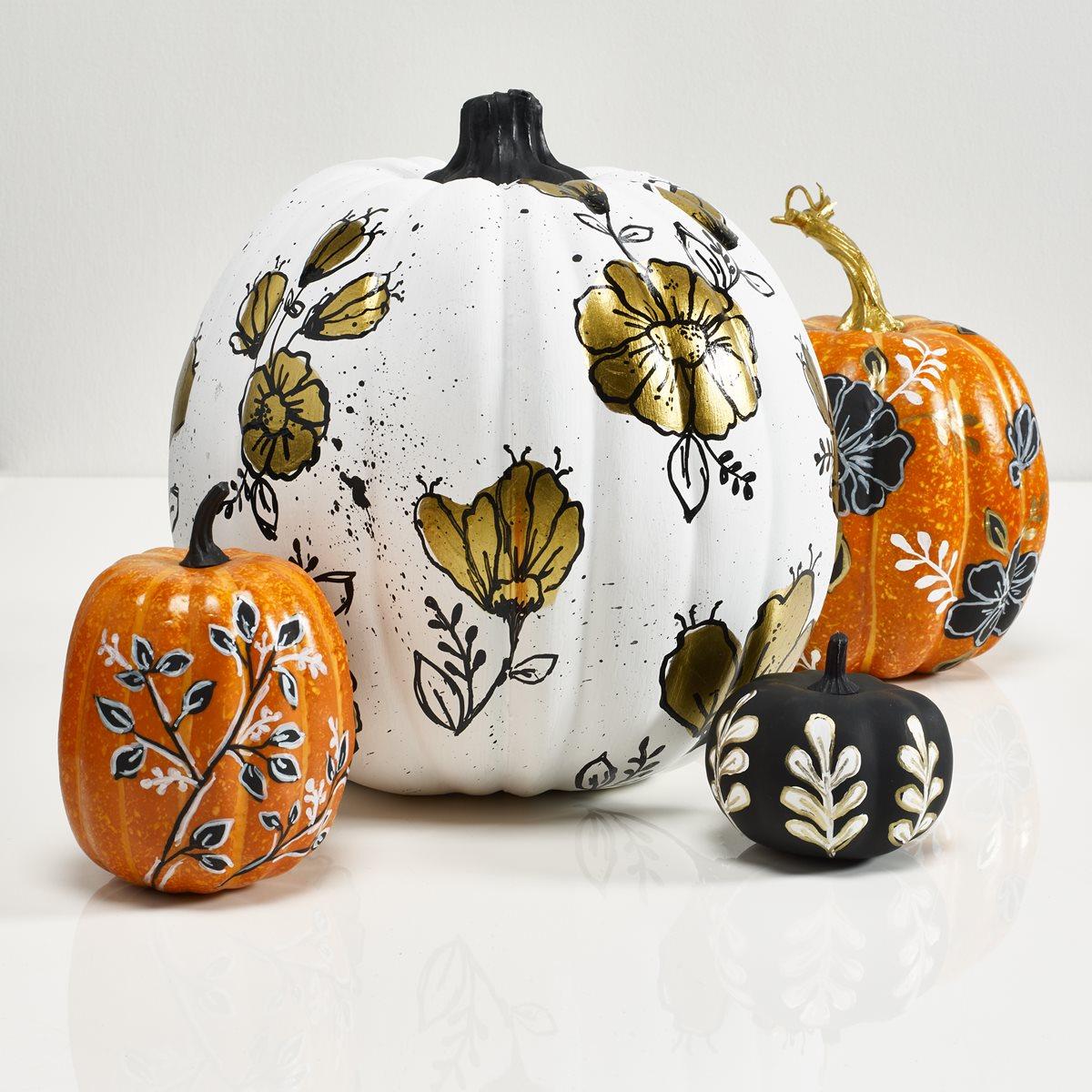 Black, White, & Gold Floral Pumpkins