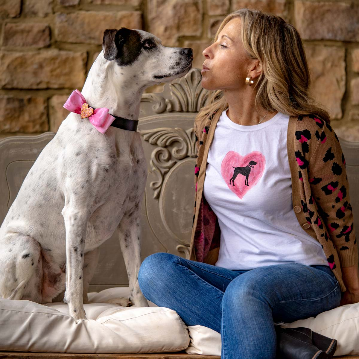 Pet Lovers' Valentine's Day Gift - Dog Mom Tee & Doggie Bowtie