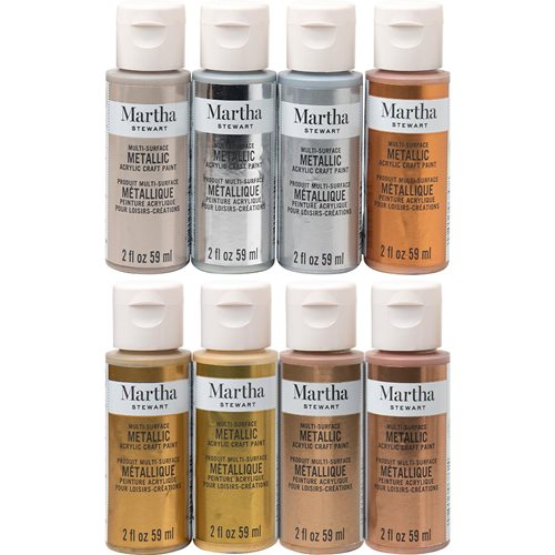 Martha Stewart ® Multi-Surface Metallic Acrylic Craft Paint 8-Color Best of Paint Set - MSORIGMET8A