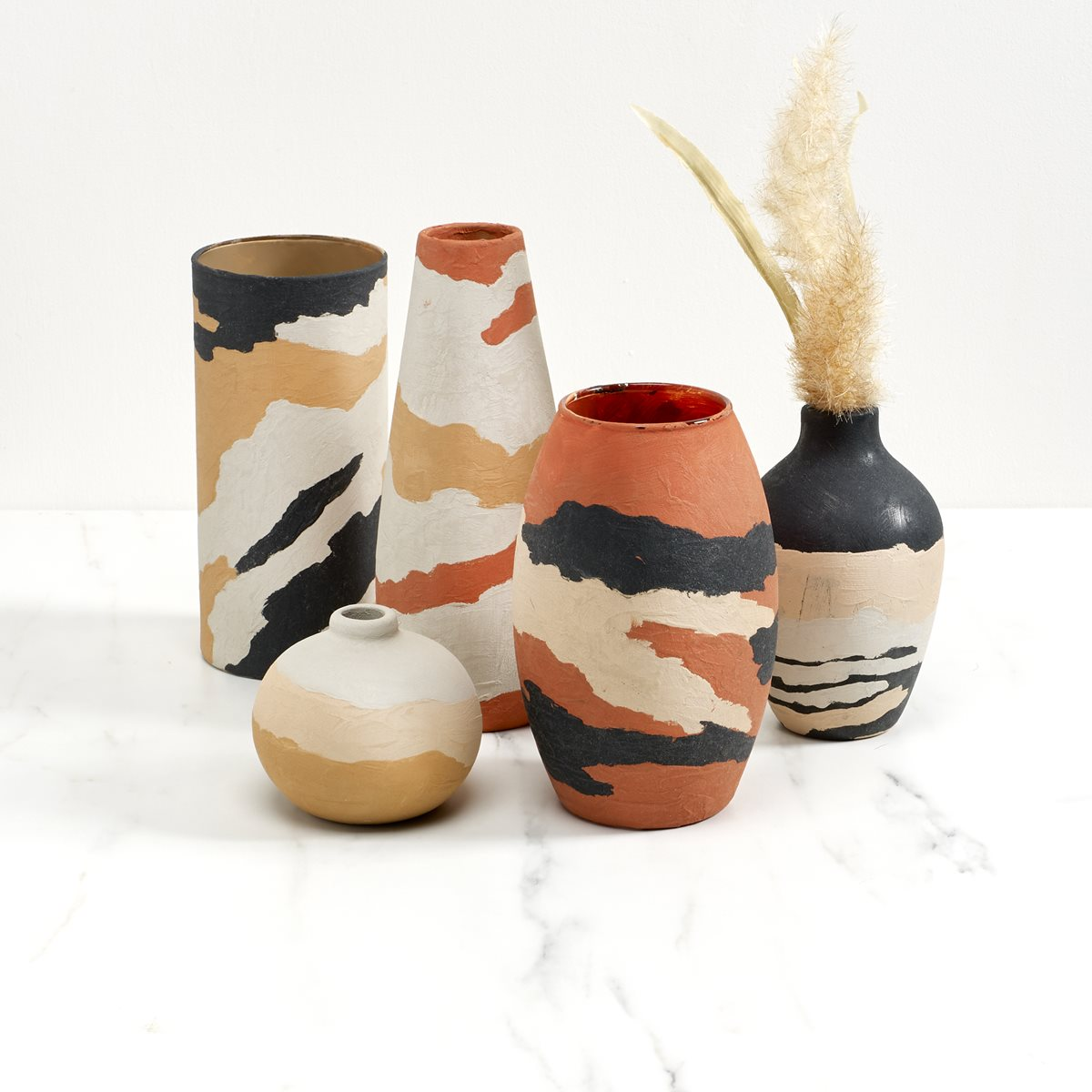 FolkArt Terra Cotta Abstract Pattern Vases