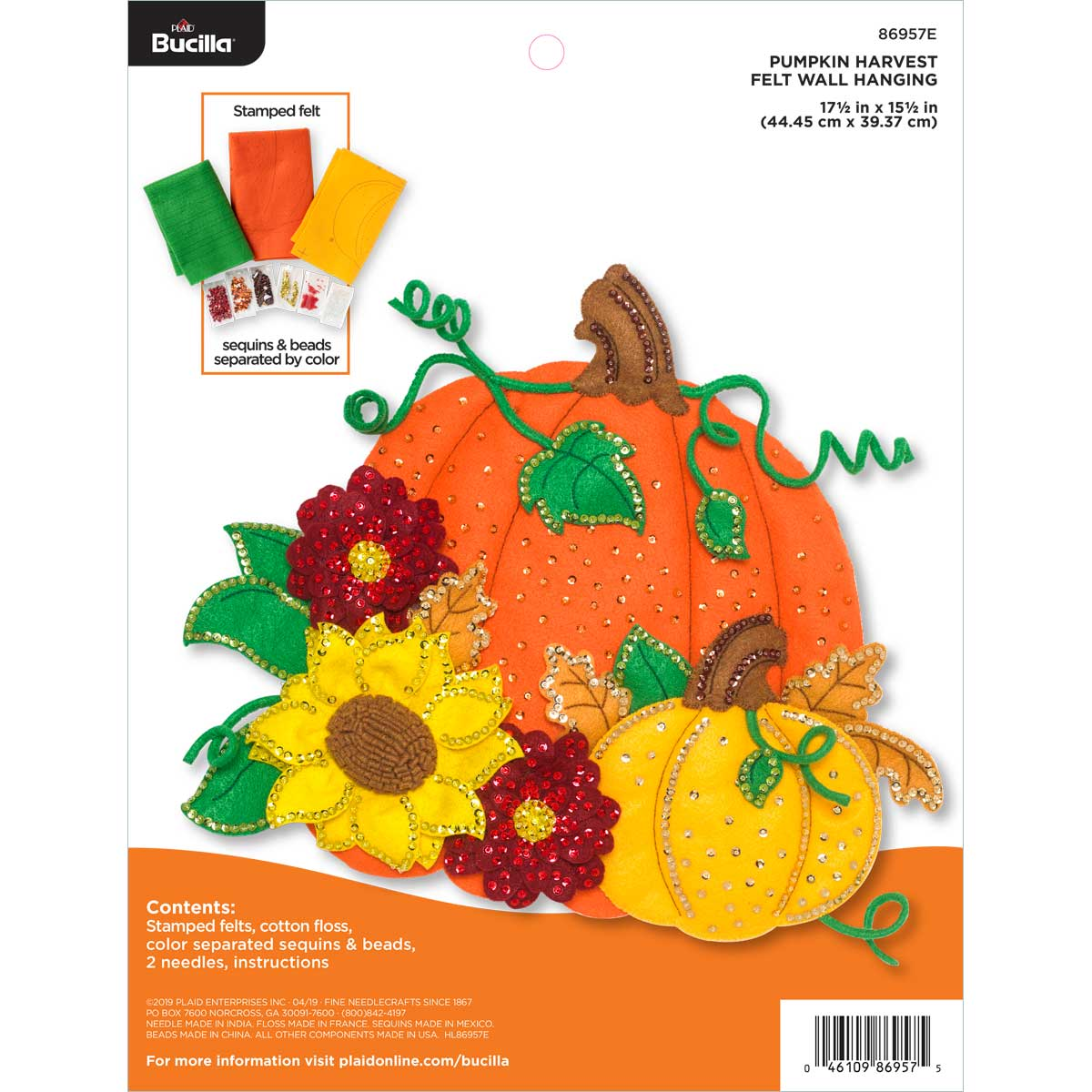 Bucilla ® Seasonal - Felt - Home Decor - Door/Wall Hanging Kits - Pumpkin Harvest