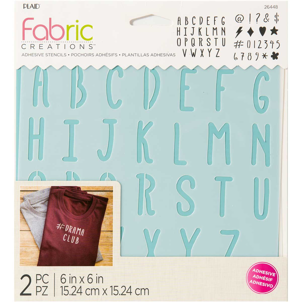 Fabric Creations™ Adhesive Stencils - Alphabet, 6