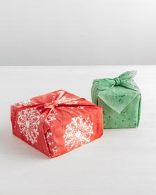 DIY Gift Wrapping Idea with Painted Fabric