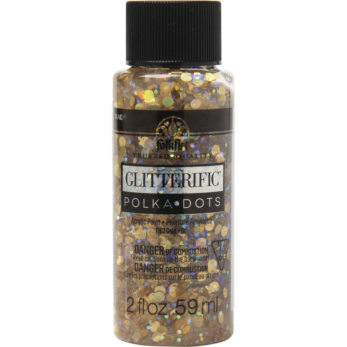 FolkArt ® Glitterific™ Polka Dot Acrylic Paint - Gold, 2 oz. - 7162
