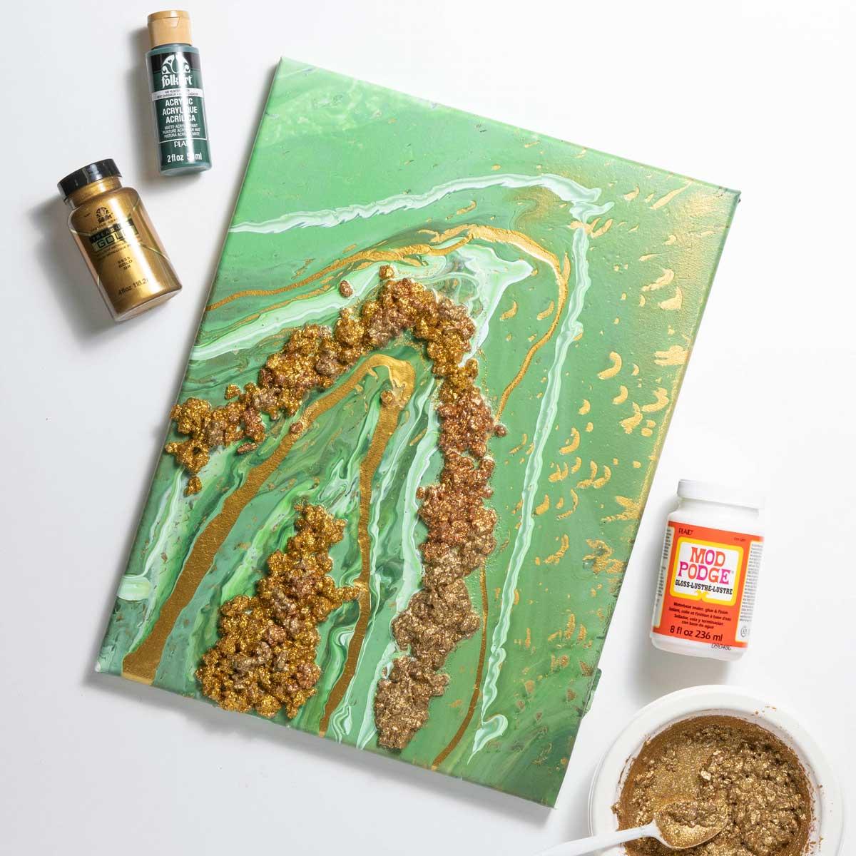 Green Poured Art Geode Canvas