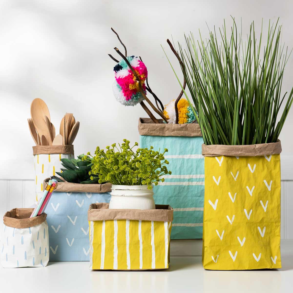 Painted Paper Bag Planters