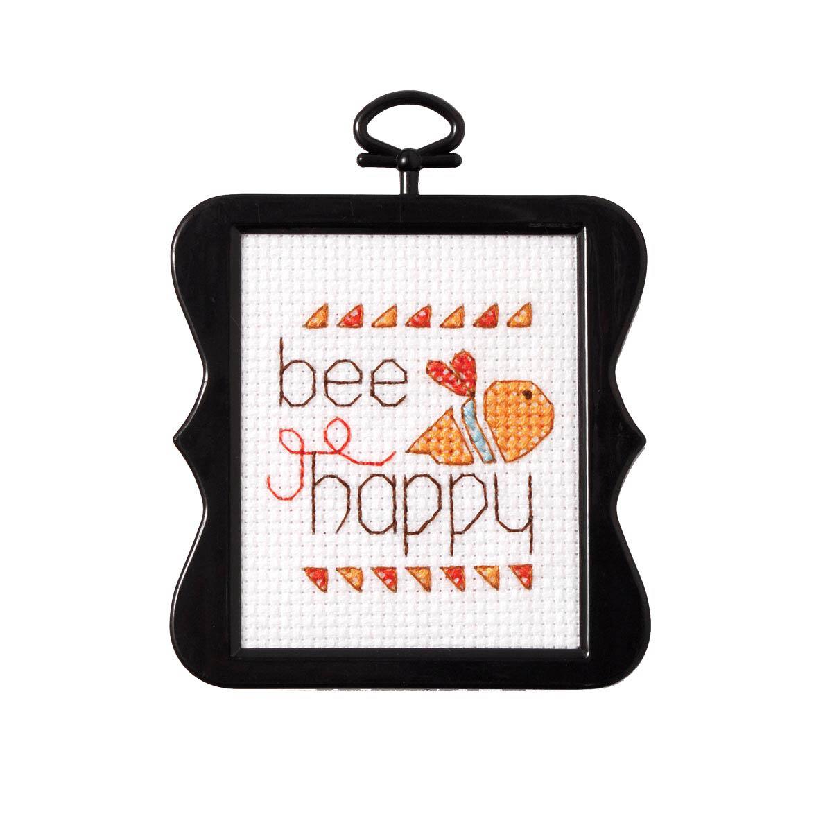 Bucilla ® Counted Cross Stitch - Beginner Stitchery - Mini - Bee Happy - 45754