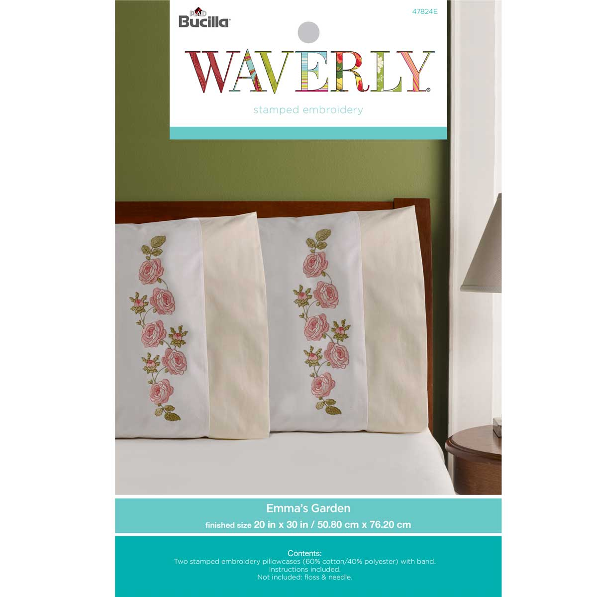 Bucilla ® Waverly ® Emma's Garden Collection Stamped Pillowcase Pair