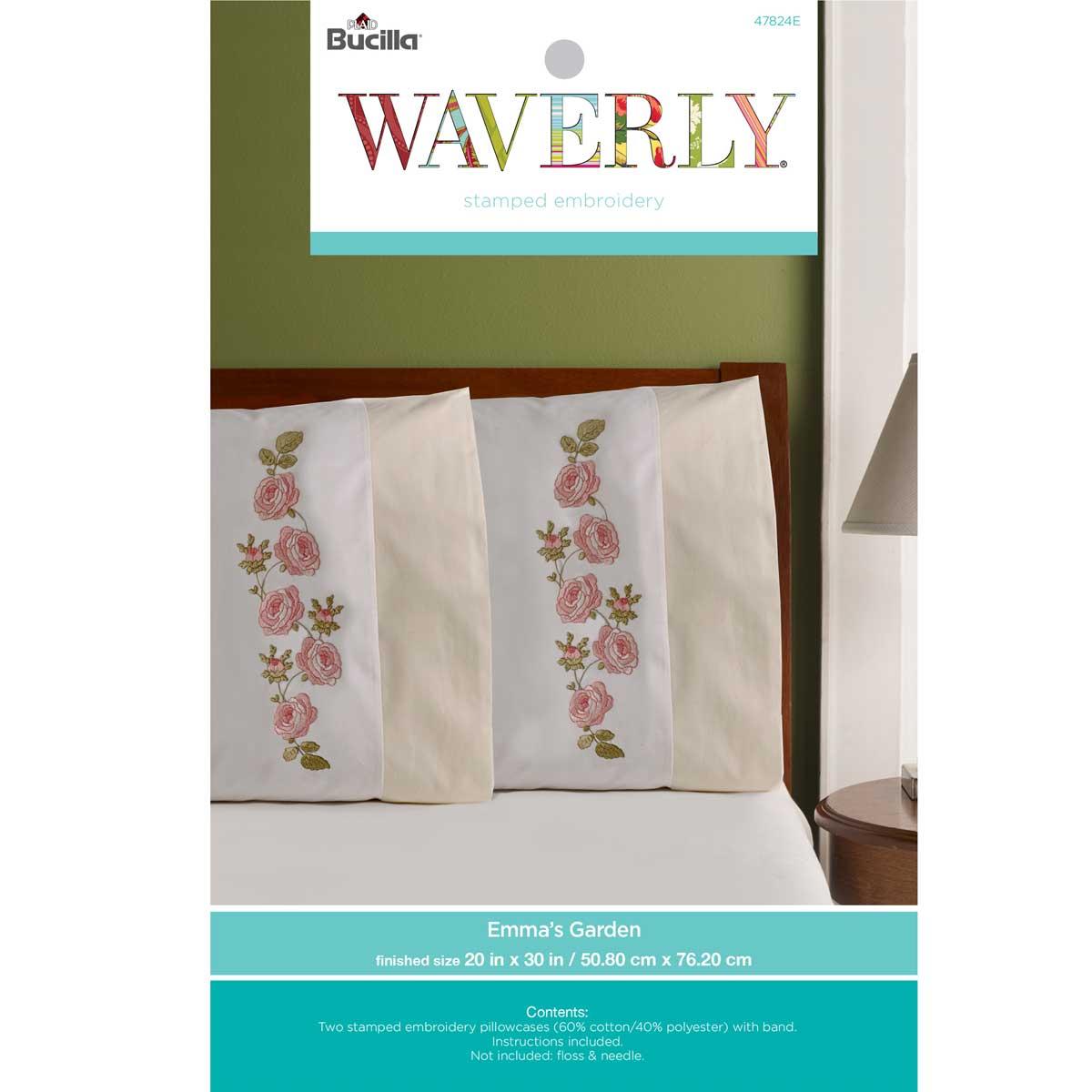 Bucilla ® Waverly ® Emma's Garden Collection Stamped Pillowcase Pair