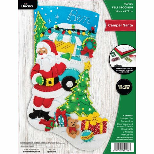 Bucilla ® Seasonal - Felt - Stocking Kits - Camper Santa with String Lights - 89303E
