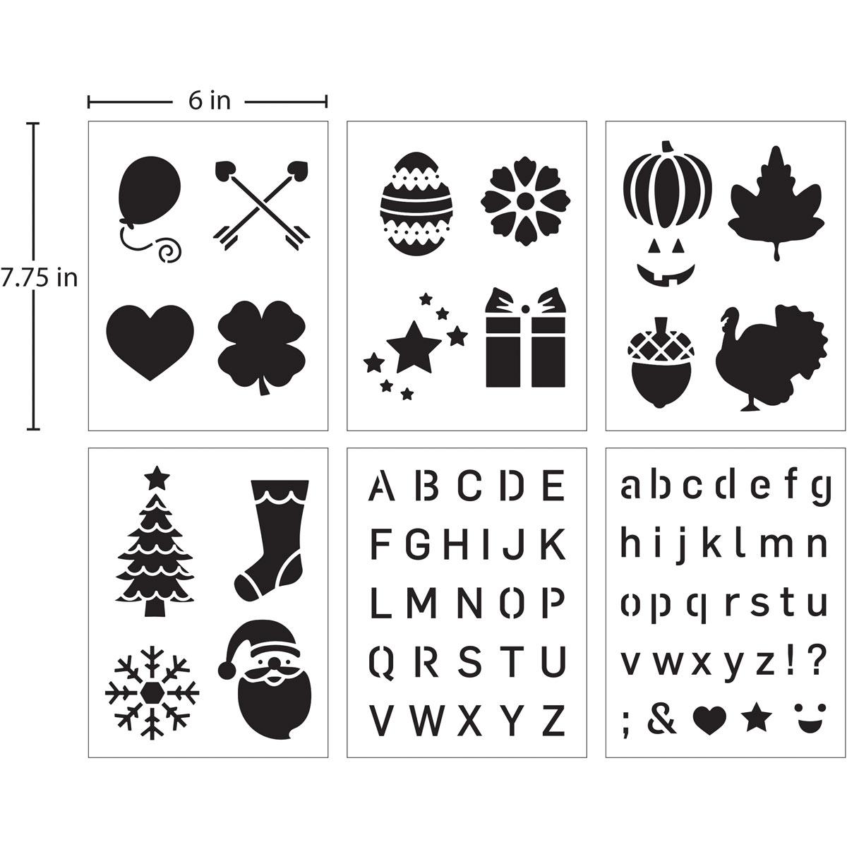 FolkArt ® Stencil Value Packs - Holiday, 6