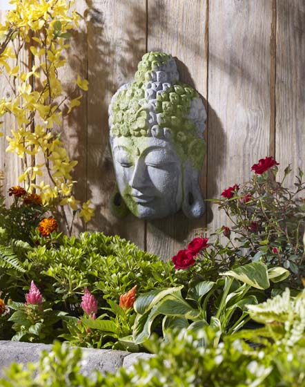 Exceptional Moss Covered Buddha Garden Decoration Idea