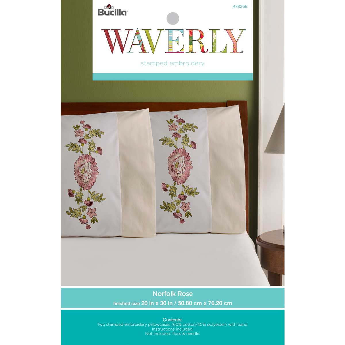 Bucilla ® Waverly ® Norfolk Rose Antique Collection Stamped Pillowcase Pair - 47826