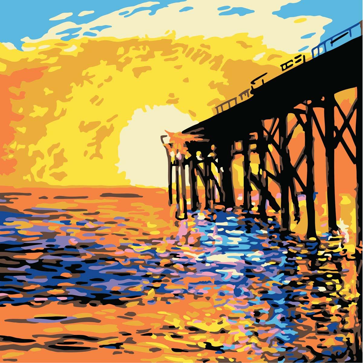 Plaid ® Let's Paint™ Modern Paint-by-Number - West Coast Pier - 17879
