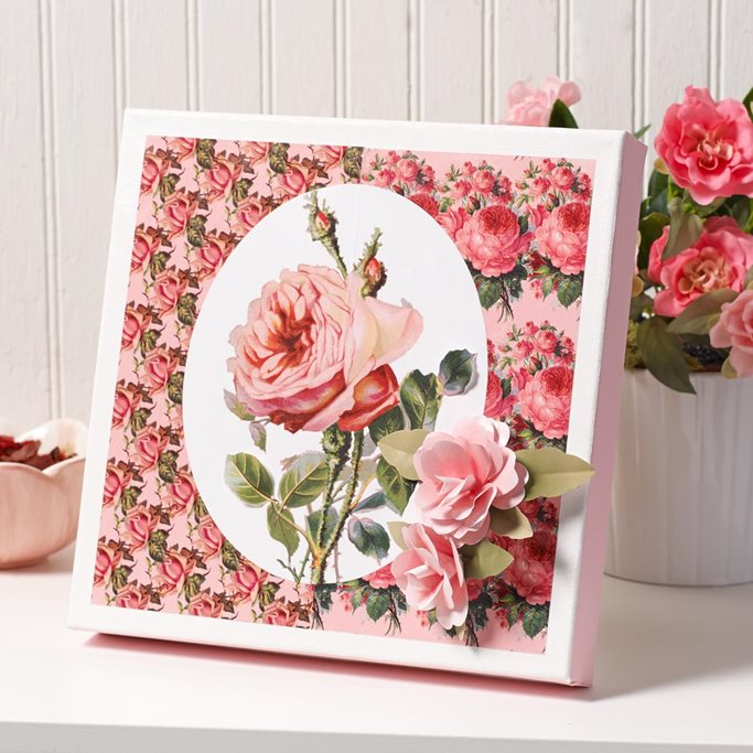 Free Printable Paper – Floral Splendor Canvas with 3D Roses