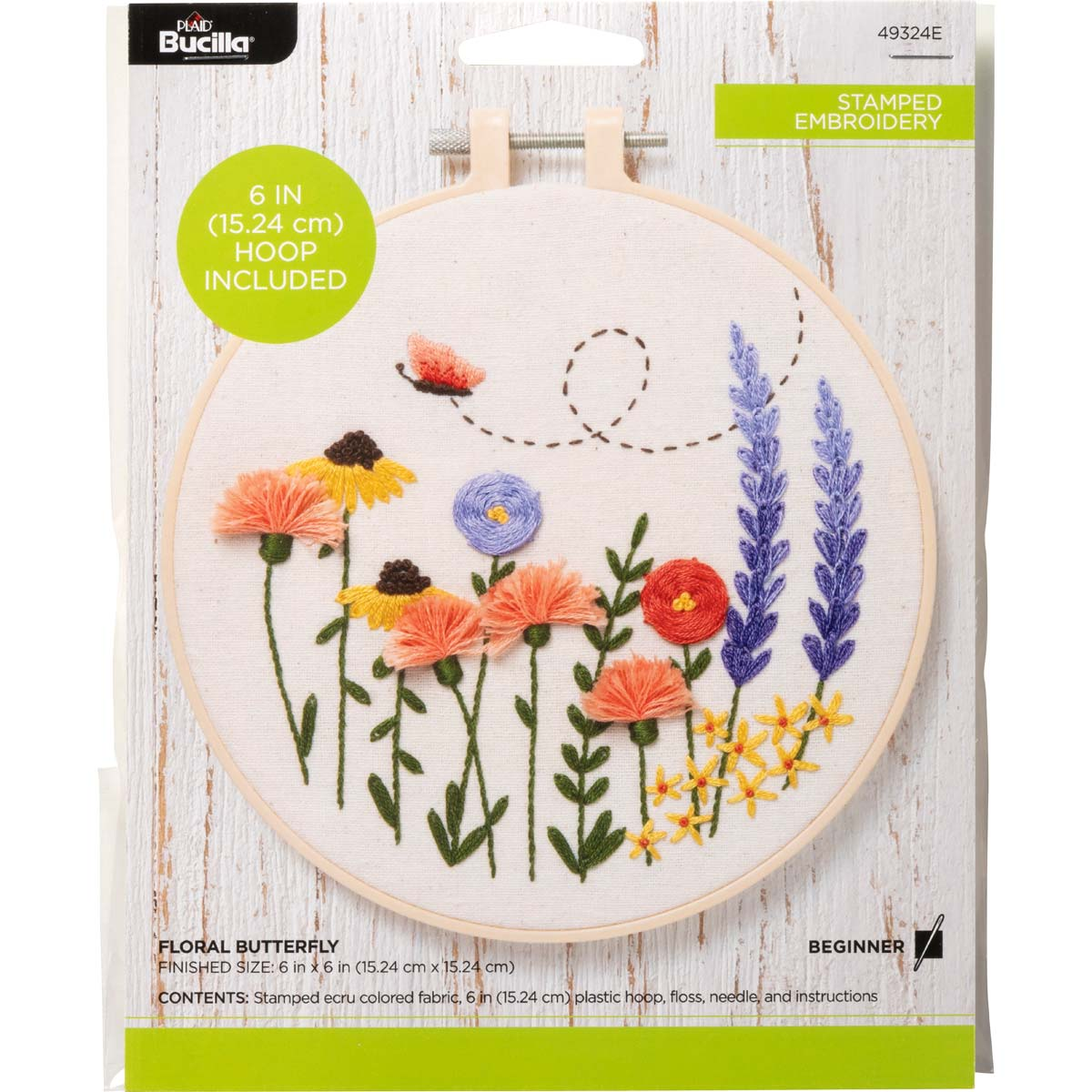 Bucilla ® Stamped Embroidery - Floral Butterfly - 49324E