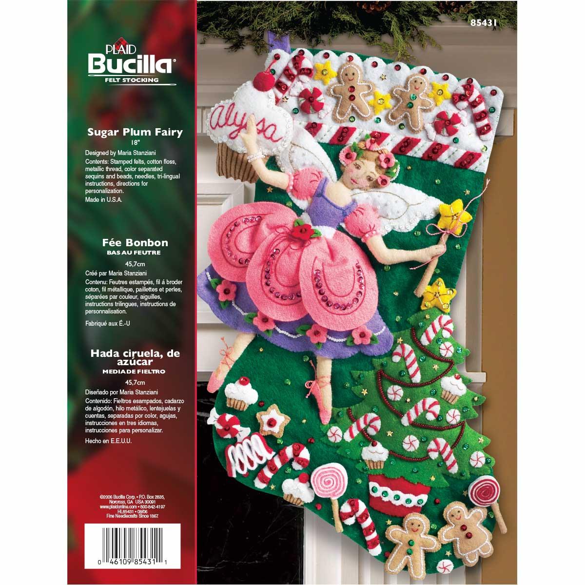 Bucilla ® Seasonal - Felt - Stocking Kits - Christmas Sugar Plum Fairy - 85431