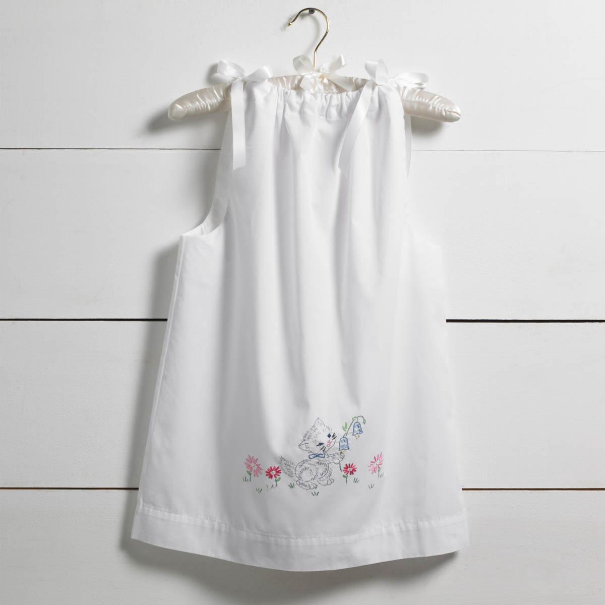 Bucilla ® Stamped Cross Stitch & Embroidery - Pillowcase Dress - Kitten - 47717