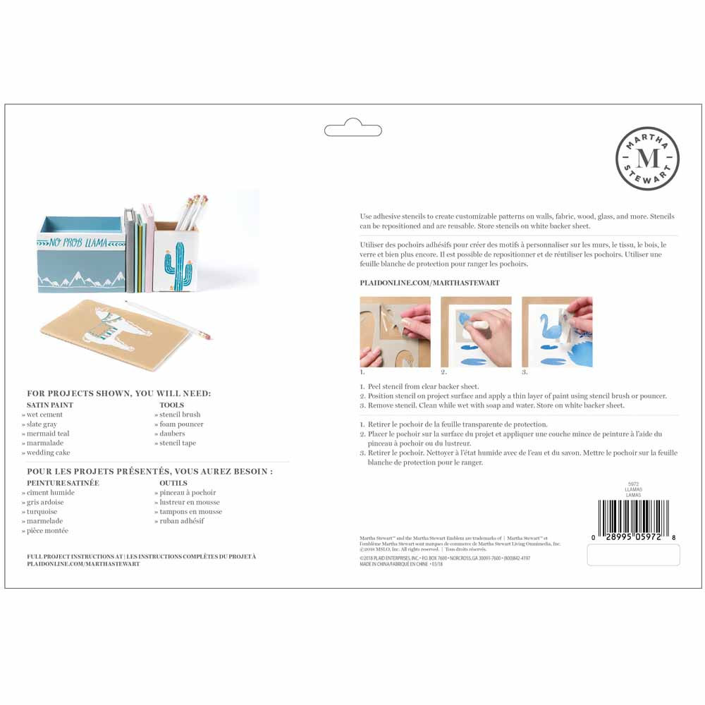 Martha Stewart ® Adhesive Stencil - Llama & Alpaca - 5972