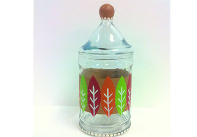 Graphic Leaves Glass Apothecary Jar with FolkArt Multi-Surface