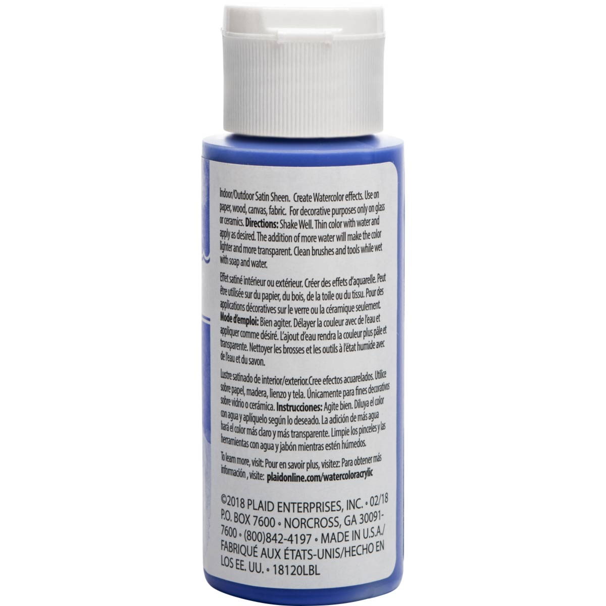 FolkArt ® Watercolor Acrylic Paint™ - Ultramarine, 2 oz. - 18120