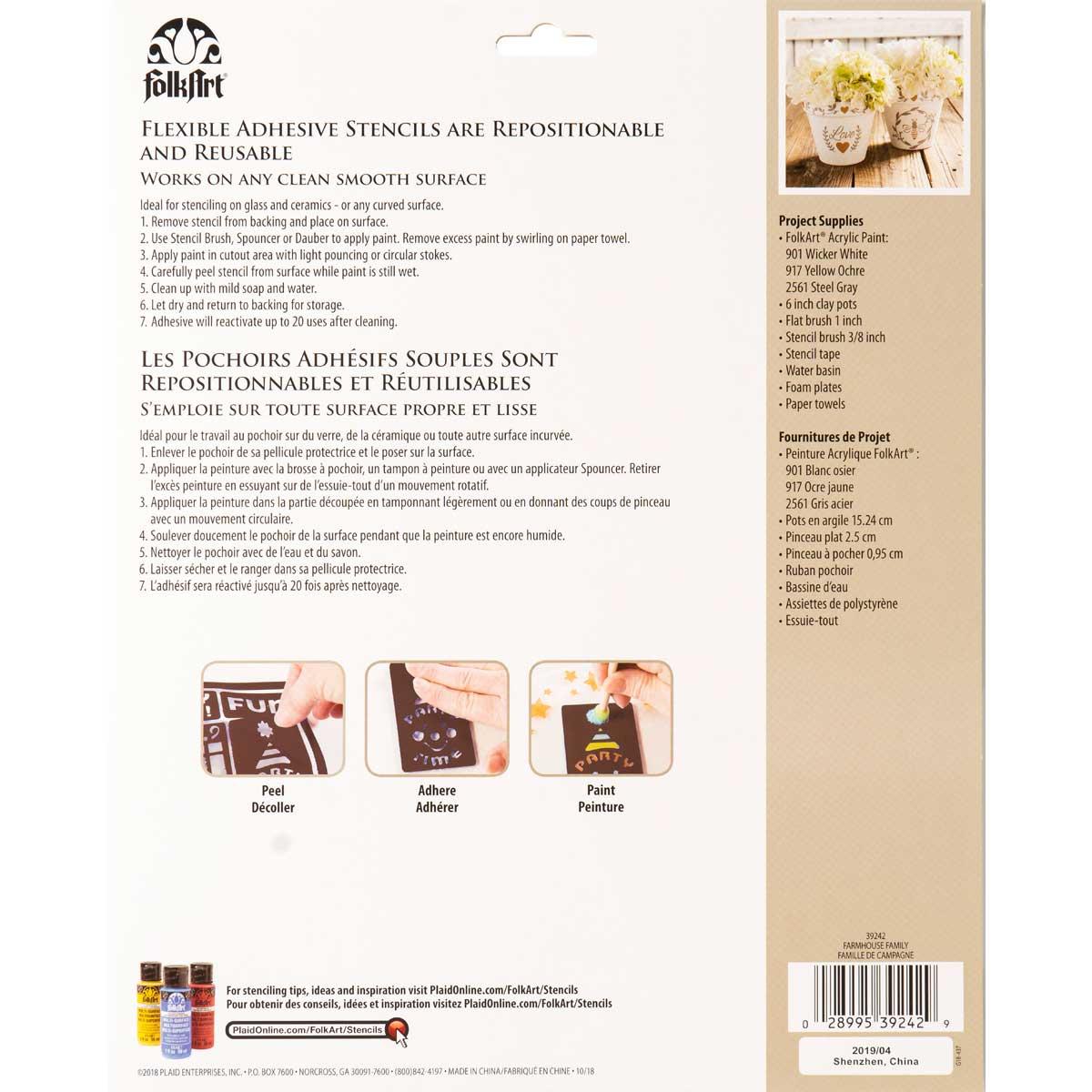 FolkArt ® Laser Cut Adhesive Stencils - Farmhouse Family - 39242