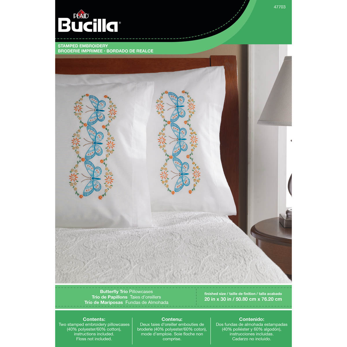 Bucilla ® Stamped Cross Stitch & Embroidery - Pillowcase Pairs - Butterfly Trio - 47703