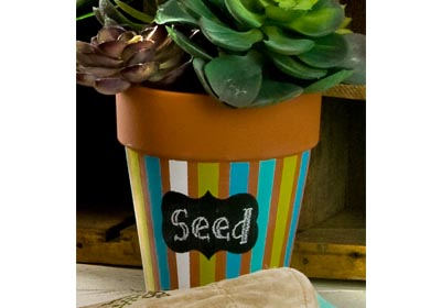 Chalkboard Label Striped Rose Pot