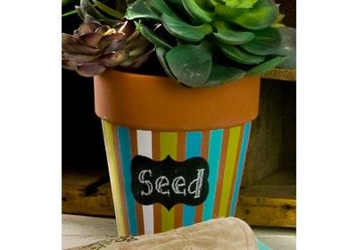Chalkboard Label Striped Rose Pot