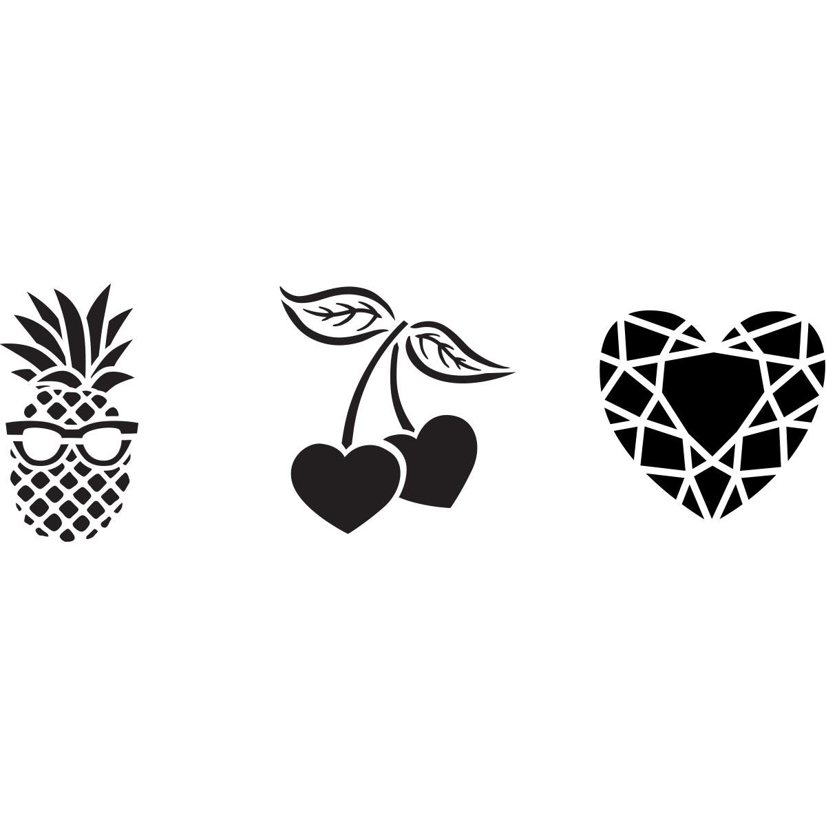Fabric Creations™ Adhesive Stencils - Mini - Pineapple-Cherry-Diamond, 3