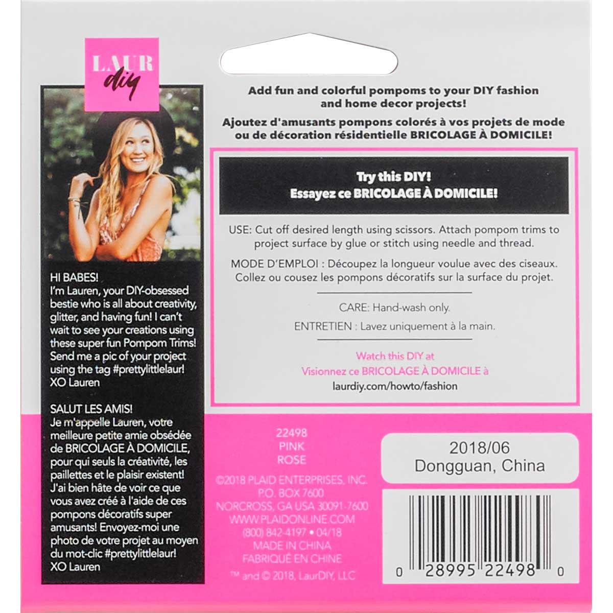 LaurDIY ® Pompom Trims - Pink - 22498