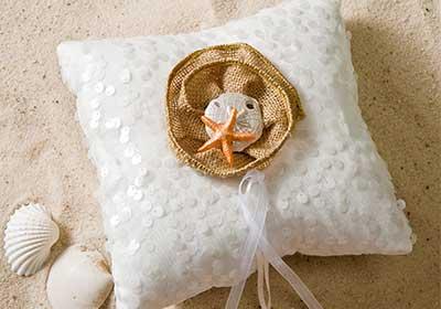 Burlap Flower Ring Pillow for a Beach Wedding